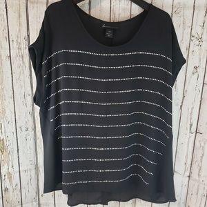 Lane Bryant plus size black studded shirt
